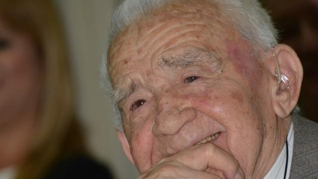 """ד""""ר מיכאל לביא, באירוע לציון יום הולדתו ה-100 שנערך ב""""ברזילי"""" לפני כשנתיים (צילום: """"ברזילי"""")"""
